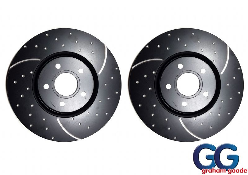 Front Brake Discs x2 Focus ST225 XR5 EBC 3GD Turbo Grooved GD1434